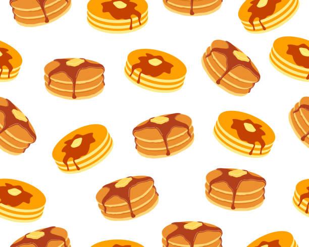 白い背景にバターとメープルシロップの甘いパンケーキのシームレスなパターン - パンケーキ点のイラスト素材/クリップアート素材/マンガ素材/アイコン素材