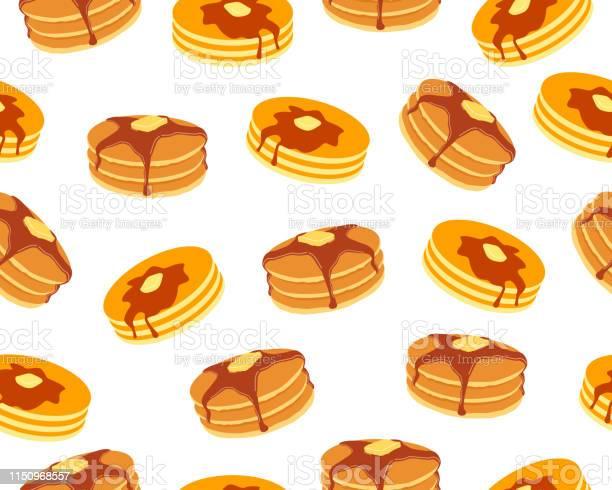 白い背景にバターとメープルシロップの甘いパンケーキのシームレスなパターン - おやつのベクターアート素材や画像を多数ご用意