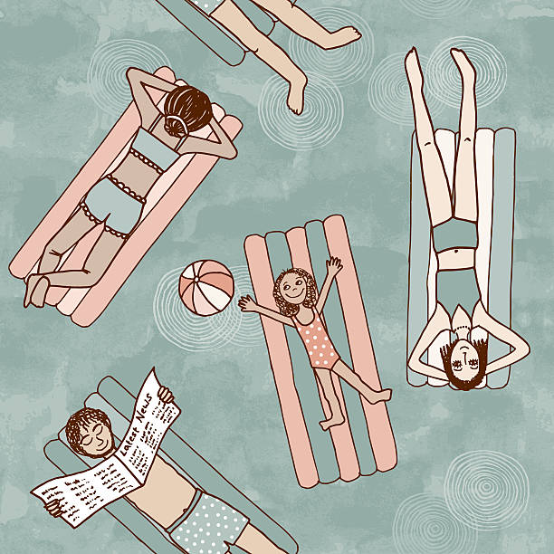 stockillustraties, clipart, cartoons en iconen met seamless pattern of people lying on air mattresses - newspaper beach