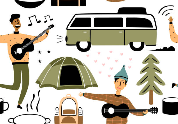 Seamless pattern of people on vacation in the park at a picnic, forest and trees. Colorful sketch cartoon illustration of camping and tourism equipment. Vector design style minimal illustration Seamless pattern of people on vacation in the park at a picnic, forest and trees. Colorful sketch cartoon illustration of camping and tourism equipment. Vector design style minimal illustration adventure patterns stock illustrations