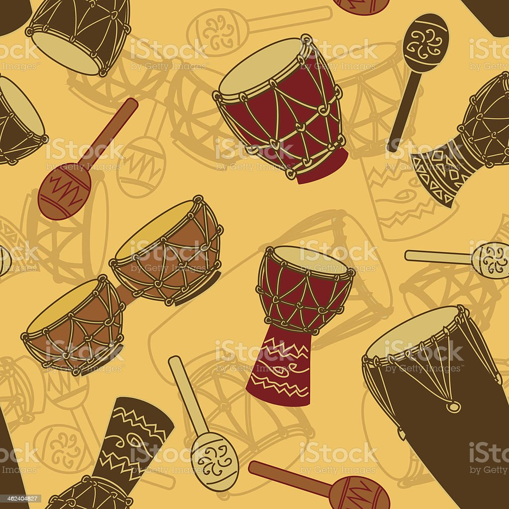 Seamless pattern of percussion vector art illustration