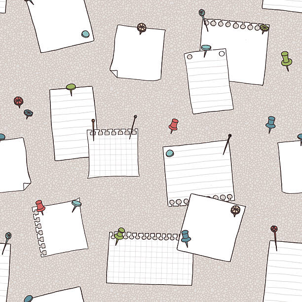 Seamless pattern of pin board, pins, and empty note papers vector art illustration