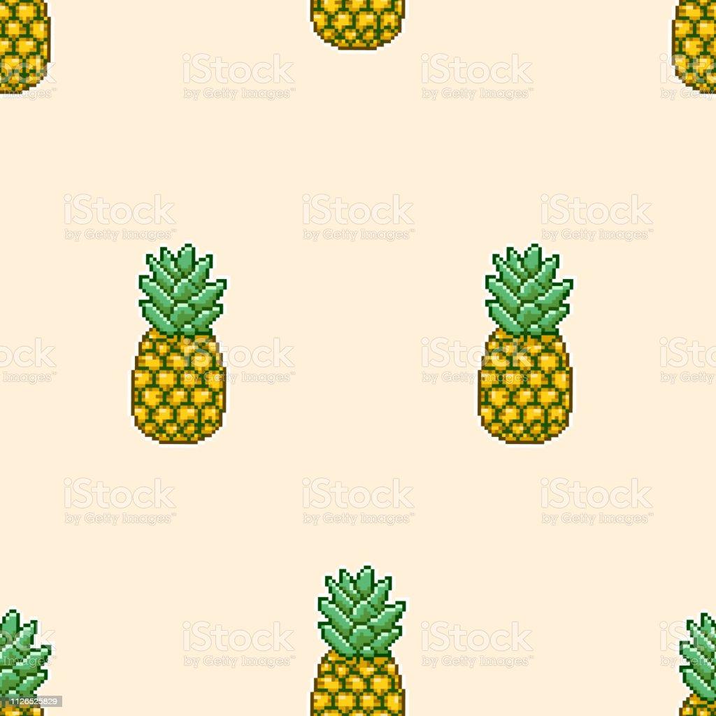 Seamless Pattern Of Pineapple Pixel Art Stock Illustration