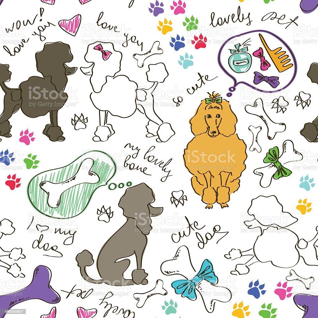 Ilustración de Patrón Sin Costuras De Caniche Perros y más banco de ...