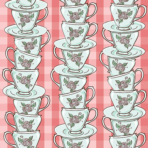seamless pattern of porcelain tea cups - stacked tea cups stock illustrations, clip art, cartoons, & icons