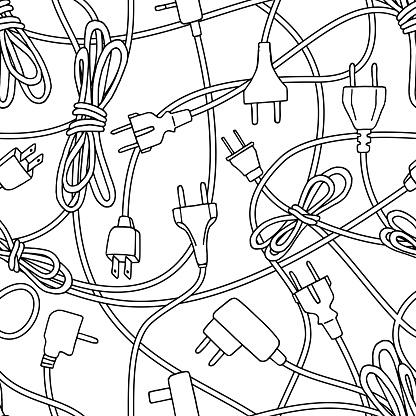 Seamless pattern of power plugs