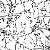 Seamless pattern of various electric plugs and power cords, line art, suitable for coloring book pages