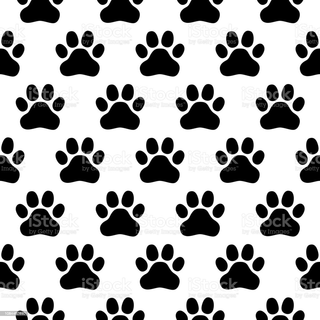 62f396f83e0f Seamless pattern of print of dogs paws on a white background royalty-free  seamless pattern