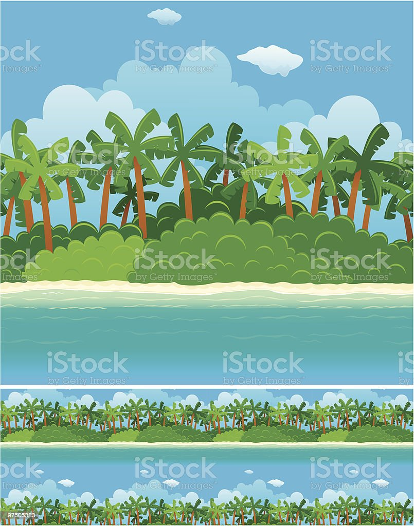 Seamless Pattern of Pristine Green Beach royalty-free seamless pattern of pristine green beach stock vector art & more images of absence