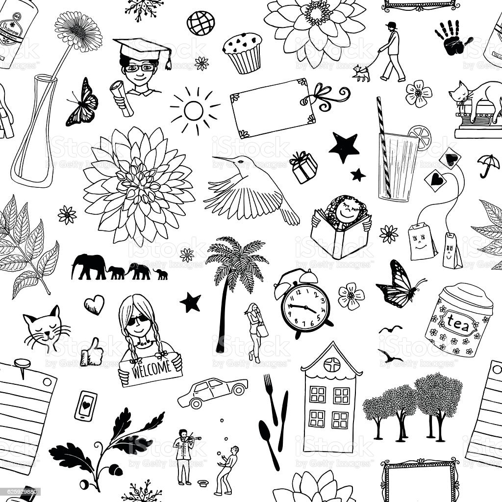 Seamless pattern of random items vector art illustration