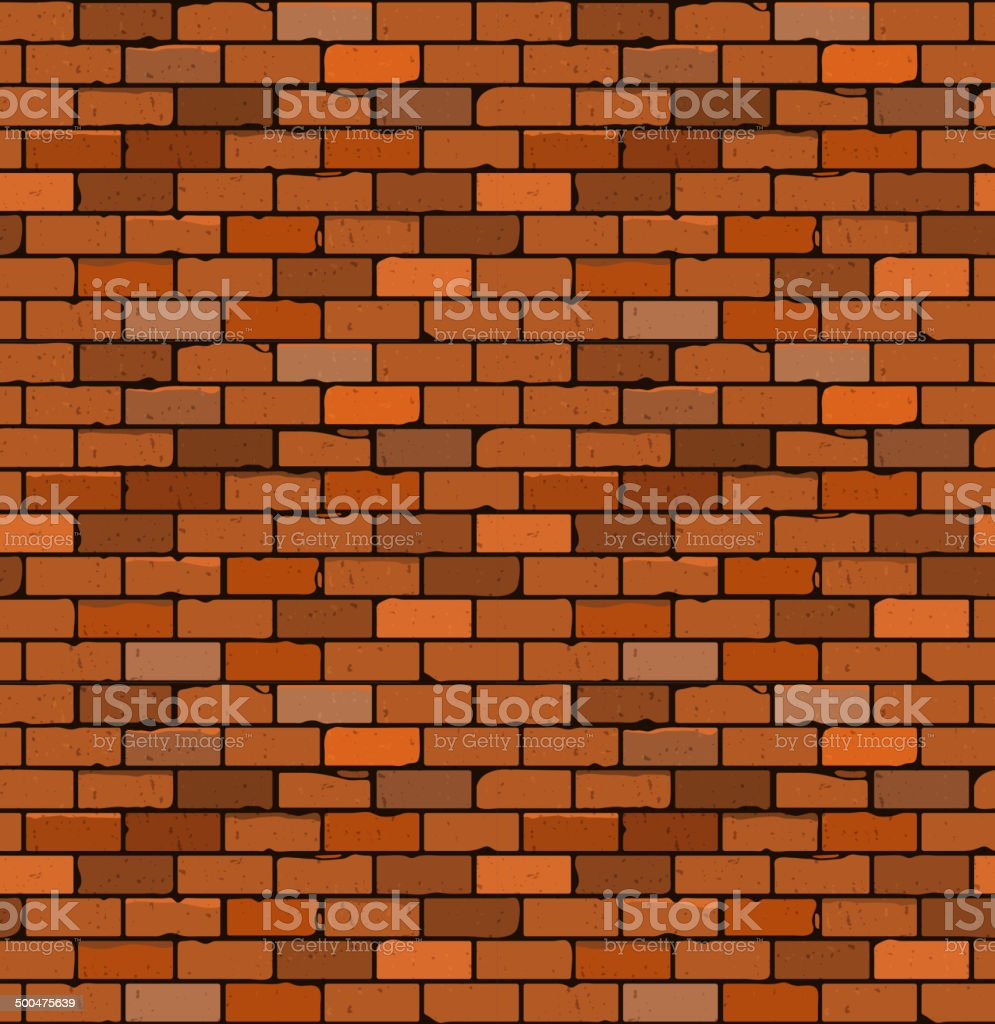 Seamless pattern of red brick with cracks and irregularities. vector art illustration