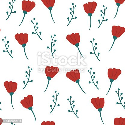 Seamless pattern of red flowers and twigs. spring decor. Vector pattern