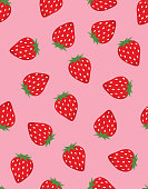 seamless pattern of red strawberries