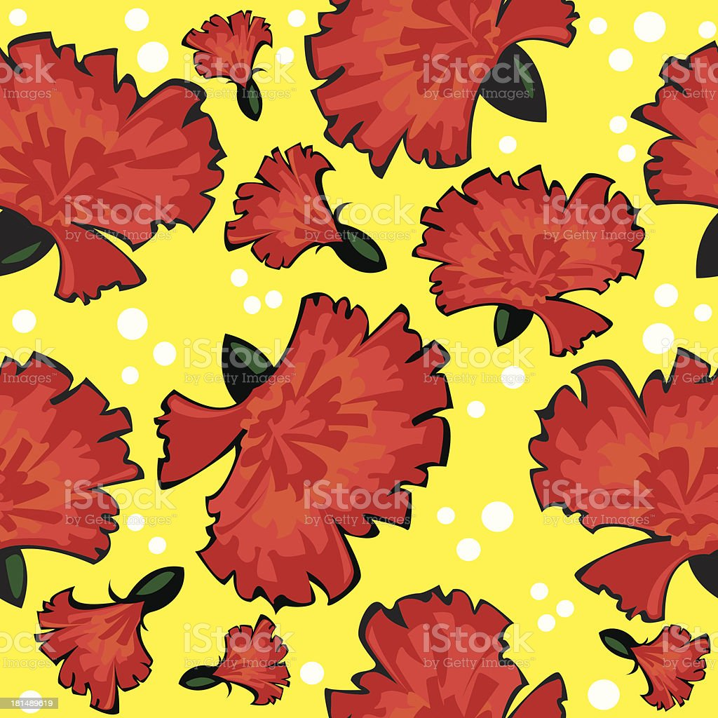 seamless pattern of red vector carnations on yellow background royalty-free stock vector art