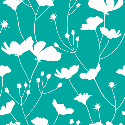 seamless pattern of reserved white flowers in tosca green blue background in summer spring season