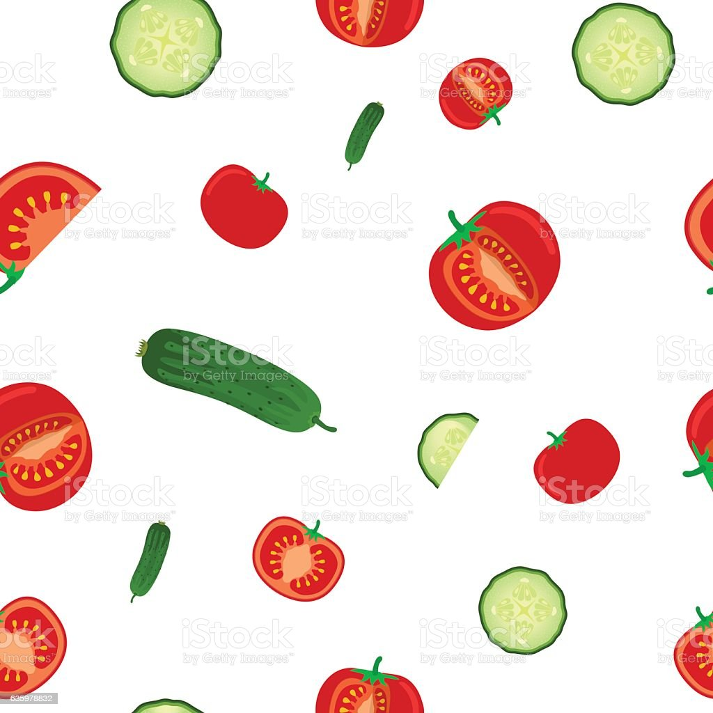 Seamless pattern of ripe cucumbers and tomato. Vegetables flat style.