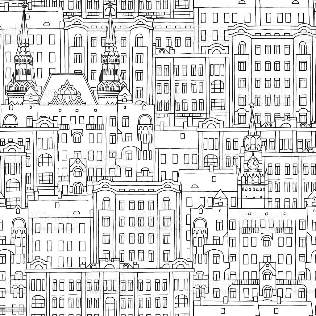 Seamless pattern of Russian style houses and church vector art illustration