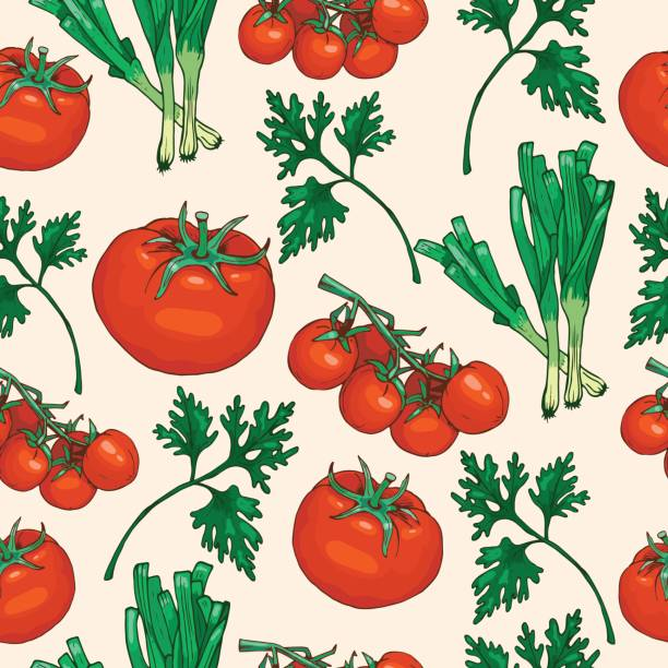 seamless pattern of salad greens and tomato - cherry tomato stock illustrations