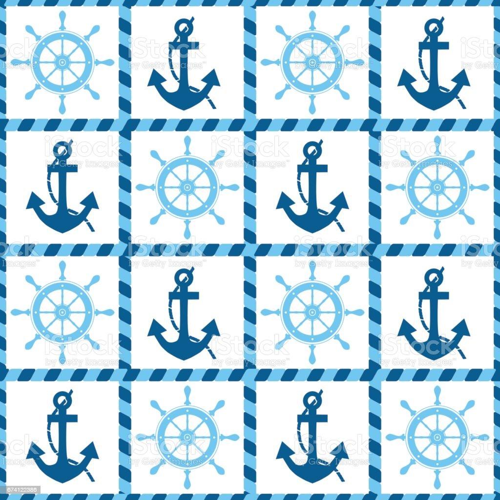 海上錨與舵無縫模式 免版稅 海上錨與舵無縫模式 向量插圖及更多 俄羅斯 圖片
