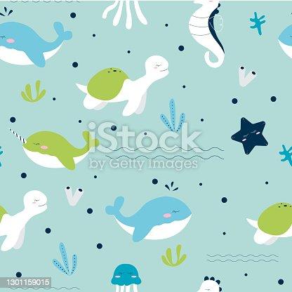 istock Seamless pattern of sea animals life 1301159015