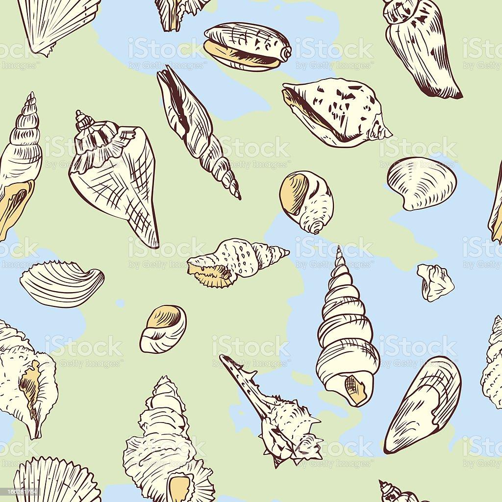 seamless pattern of shells royalty-free stock vector art