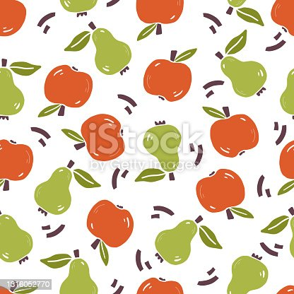 istock Seamless pattern of simple fruit 1316052770