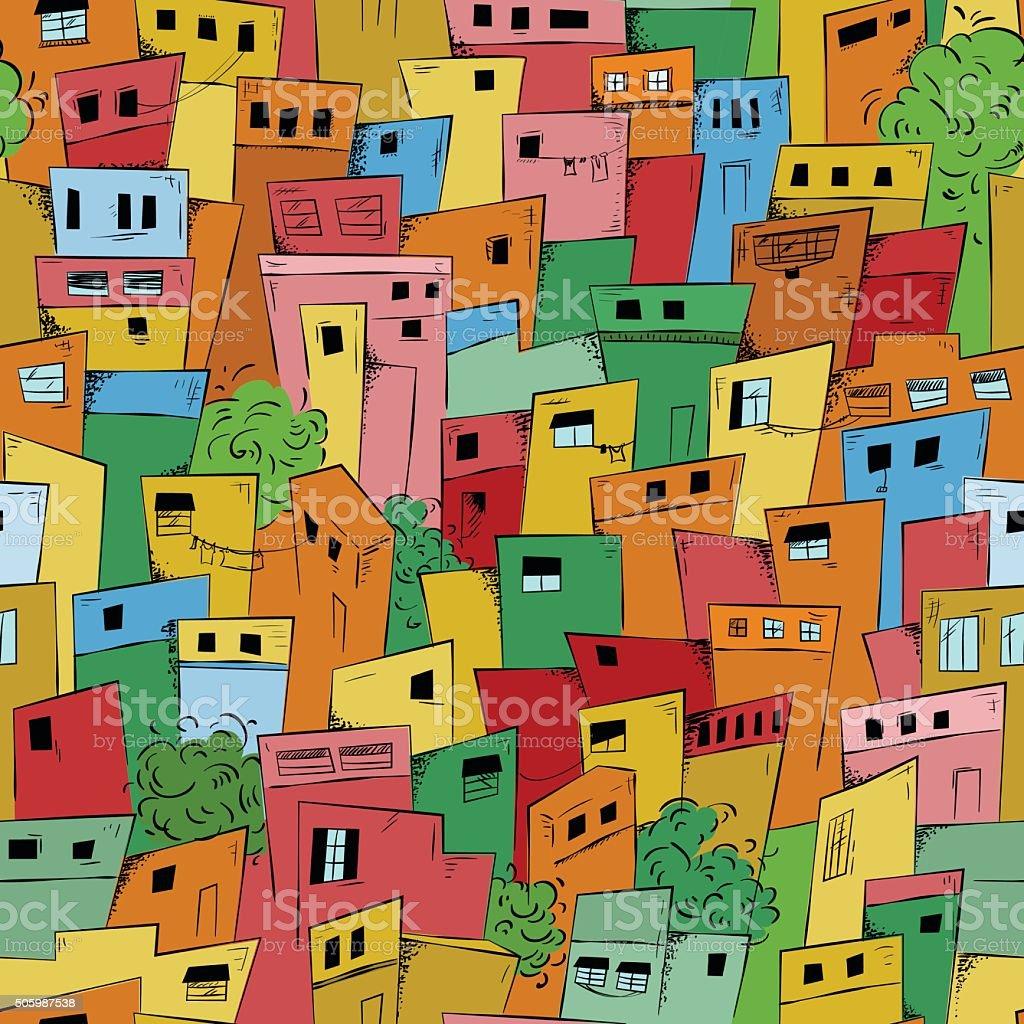 Seamless pattern of slum city vector art illustration