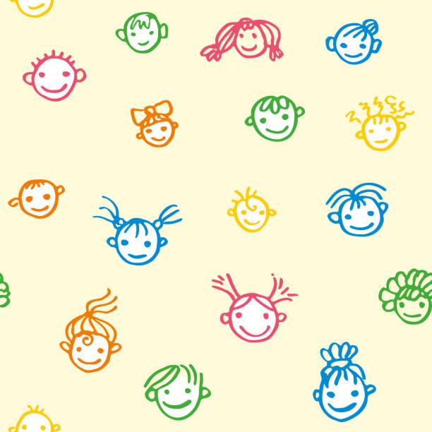 stockillustraties, clipart, cartoons en iconen met naadloos patroon van lachende baby gezichten op een licht gele achtergrond. gelukkige kinderen. doodle illustratie getekend door gekleurde viltstiften. - kinderdag