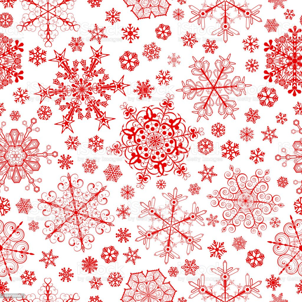 Seamless pattern of snowflakes, red on white vector art illustration