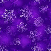 Christmas seamless pattern of snowflakes in violet colors. Vector illustrations. EPS10, JPG and AI10 are available