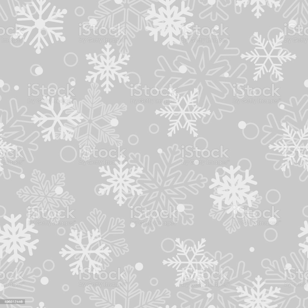Seamless pattern of snowflakes, white on gray vector art illustration