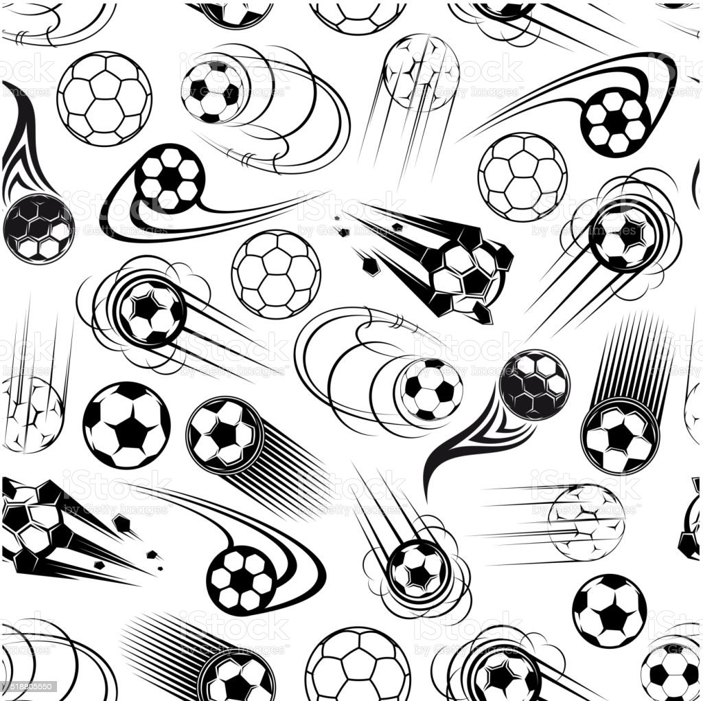 Seamless pattern of soccer balls vector art illustration