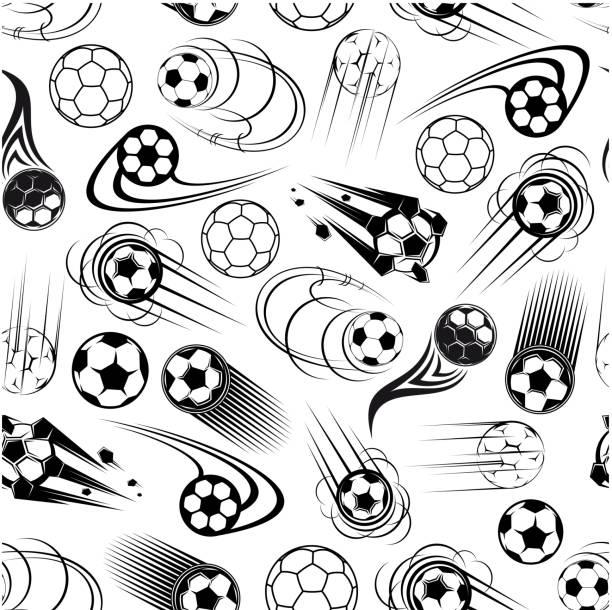 bildbanksillustrationer, clip art samt tecknat material och ikoner med seamless pattern of soccer balls - fotboll eld