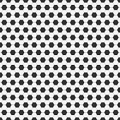 Seamless pattern of soccer, football. Traditional sport texture of ball for game with black and white hexagons. Easily resizable and color, vector illustration
