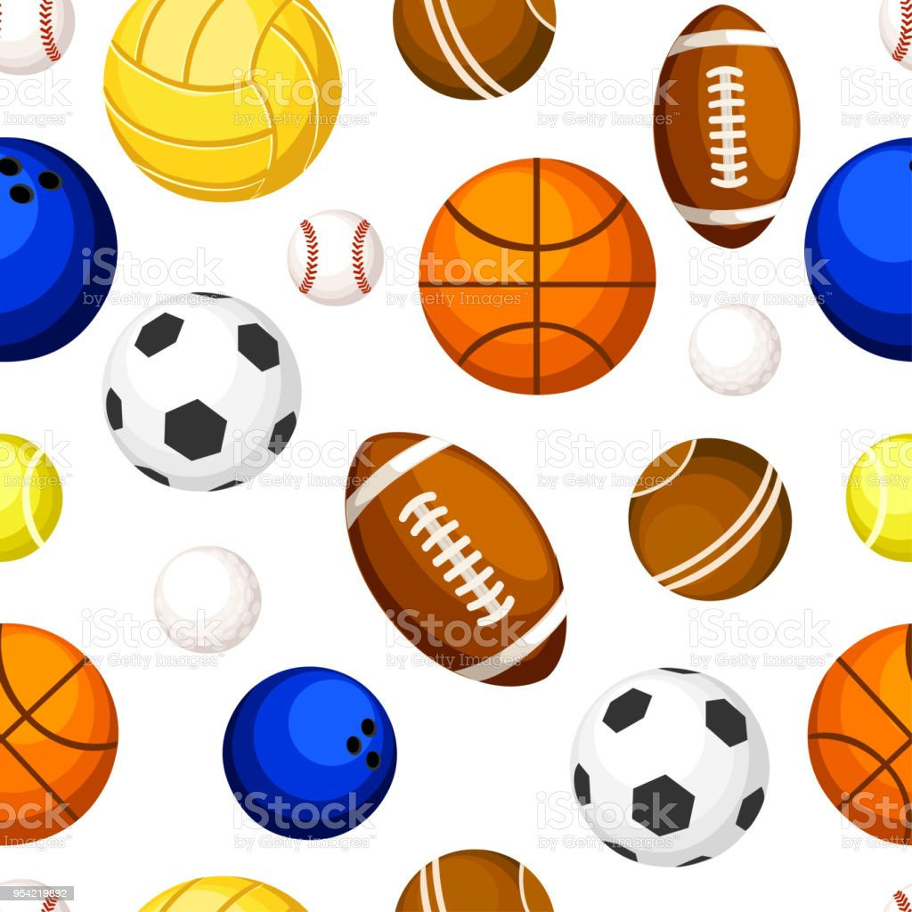 Seamless pattern of sports balls baseball basketball tennis...
