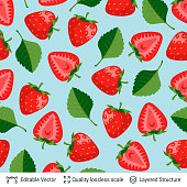 Seamless pattern of strawberries and green leaves.