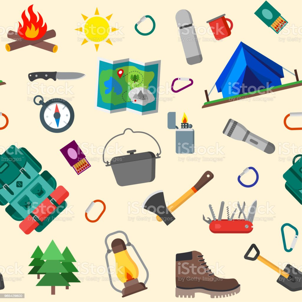 Seamless pattern of summer camping, outdoor icons. Isolated vector illustration. royalty-free seamless pattern of summer camping outdoor icons isolated vector illustration stock vector art & more images of axe