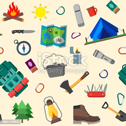 Seamless Pattern Of Summer Camping Outdoor Icons Isolated Vector Illustration Stock Vector Art & More Images of Axe 965429800