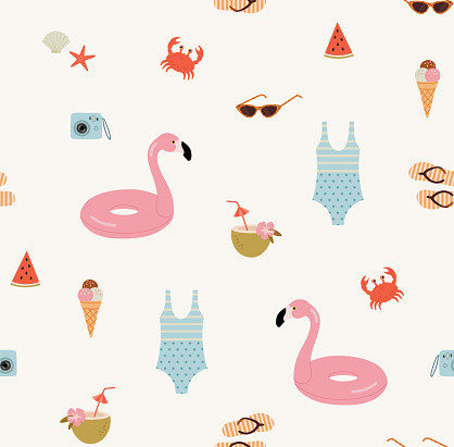 Seamless pattern of summer holidays things.