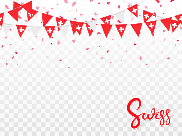 Seamless pattern of Swiss flags, confetti Seamless pattern of Swiss garlands flags and flying confetti in traditional colors. Decorative realistic design elements for Swiss national holidays. Symbol of Swiss.  Vector illustration national holiday stock illustrations
