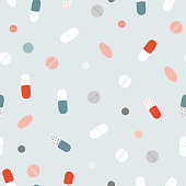 istock Seamless pattern of tablets and pills. 1249969452