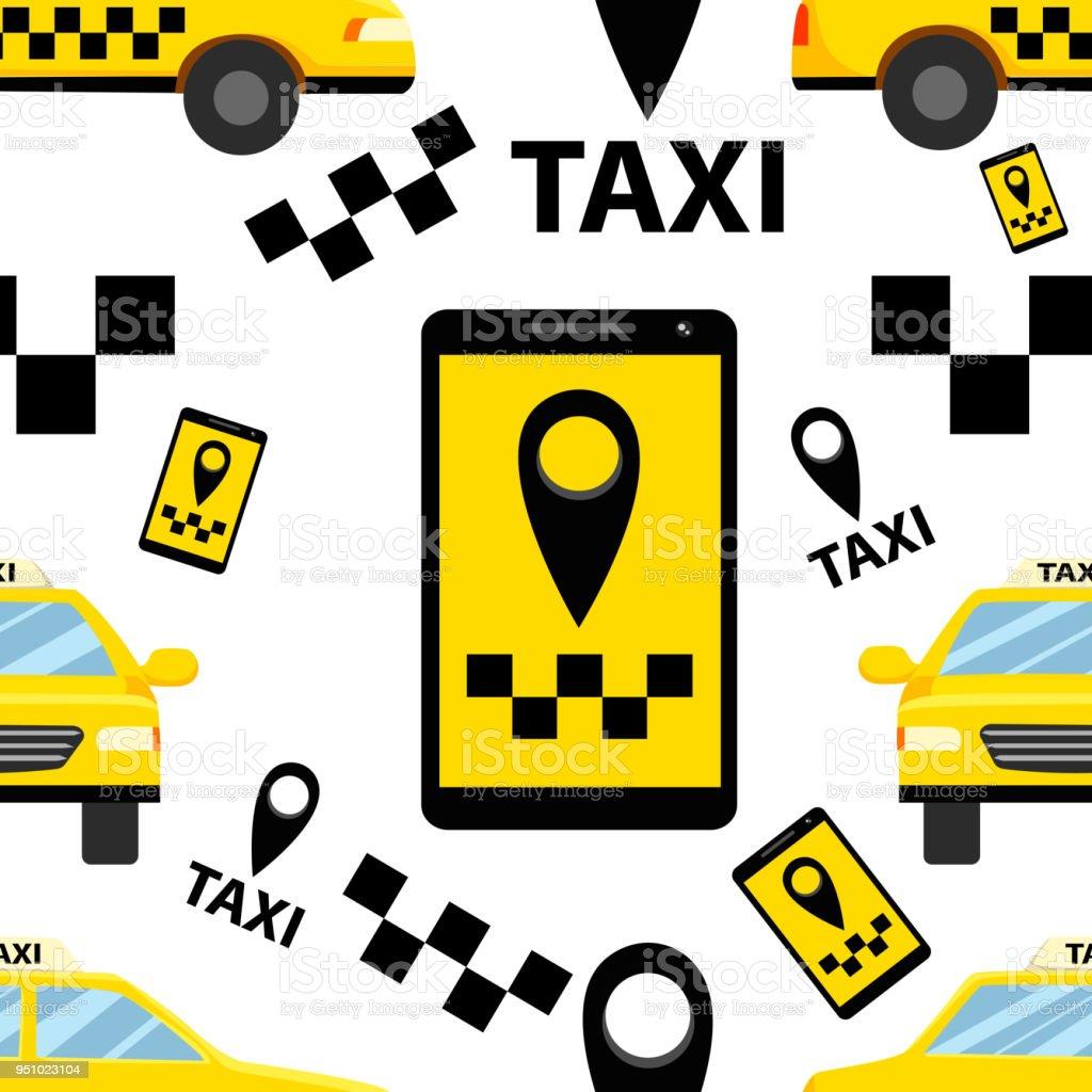Seamless Pattern Of Taxi Transportation Service Smartphone Symbol