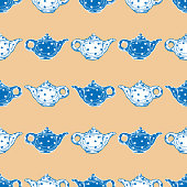 Vector background of drawn ceramics kettles.