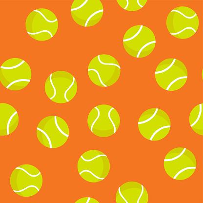 Seamless pattern of tennis balls on orange background. Summer sport vector print. Design for textile, wallpaper, print, sport equipment and banner. Sports, fitness, activity vector illustration.