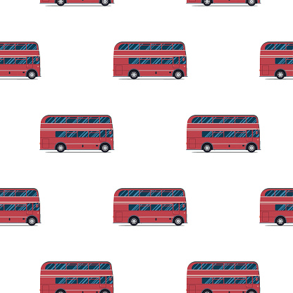 seamless pattern of the classic red double-decker London bus.