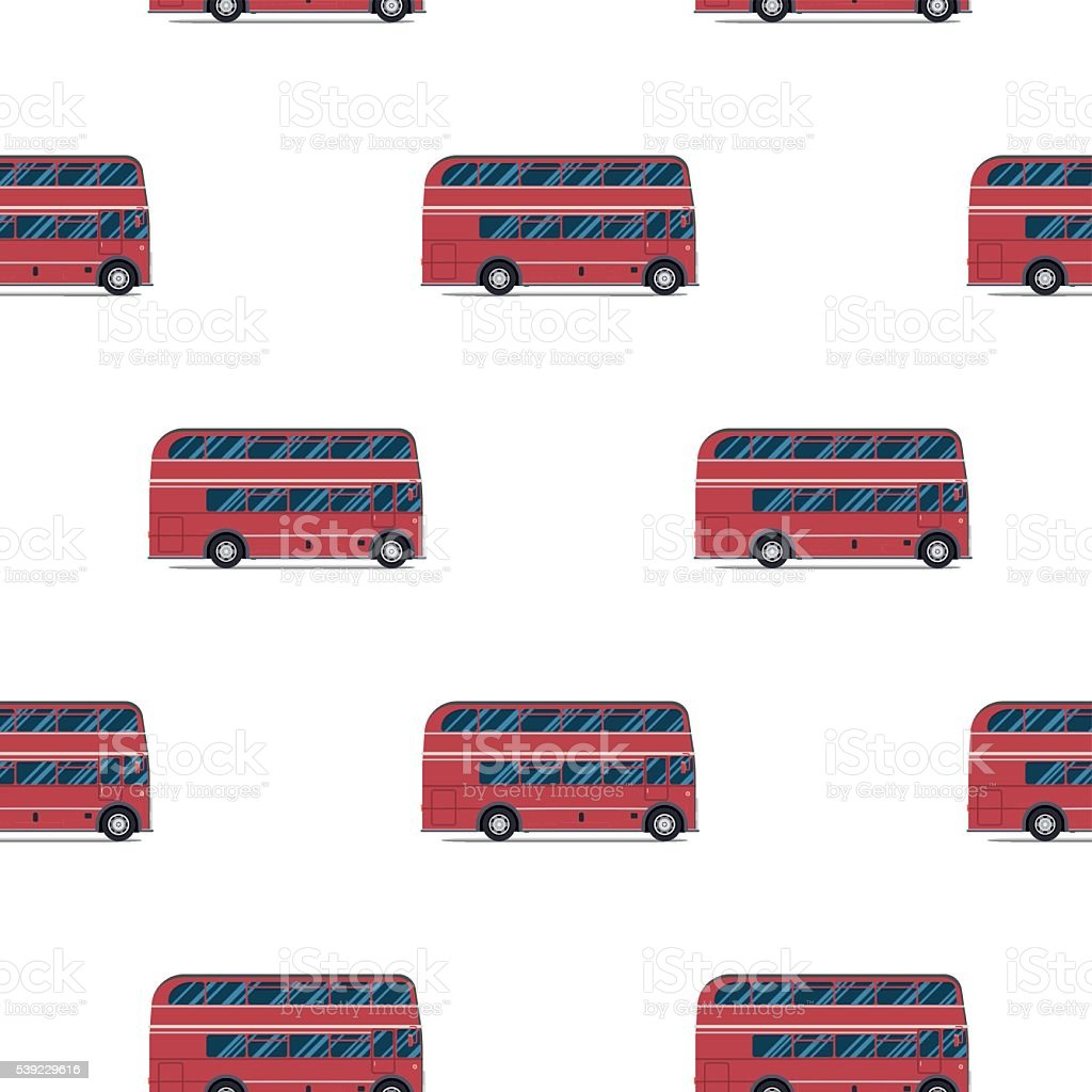seamless pattern of the classic red london bus vector art
