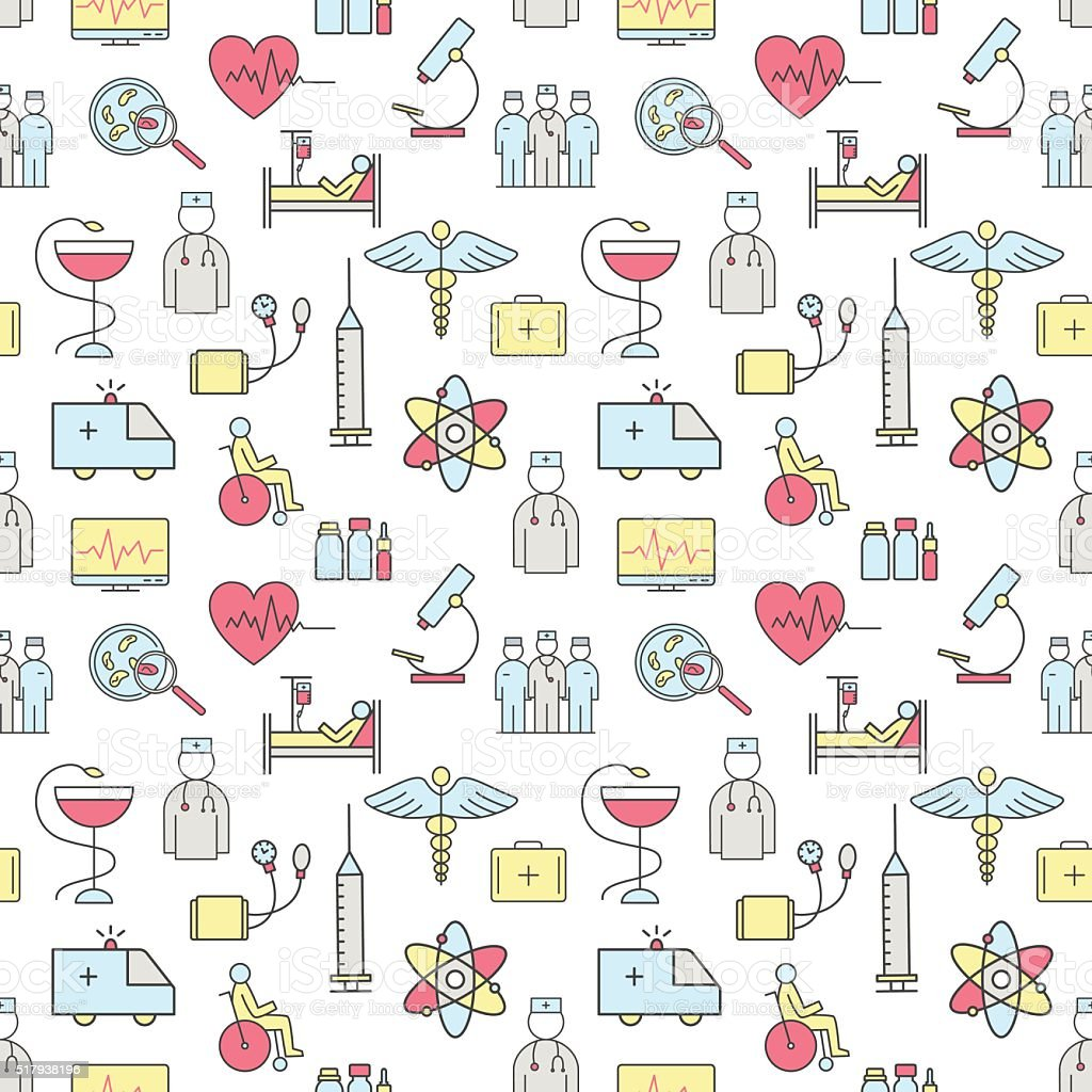 Seamless pattern of thin lines on medicine and health. vector art illustration