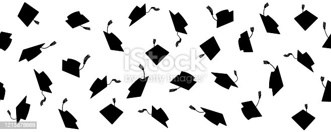 istock Seamless pattern of throwing square academic caps with tassel, vector illustration. 1213678669