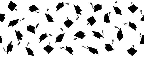 ilustraciones, imágenes clip art, dibujos animados e iconos de stock de patrón sin costuras de lanzar gorras académicas cuadradas con tassel, ilustración vectorial. - graduación