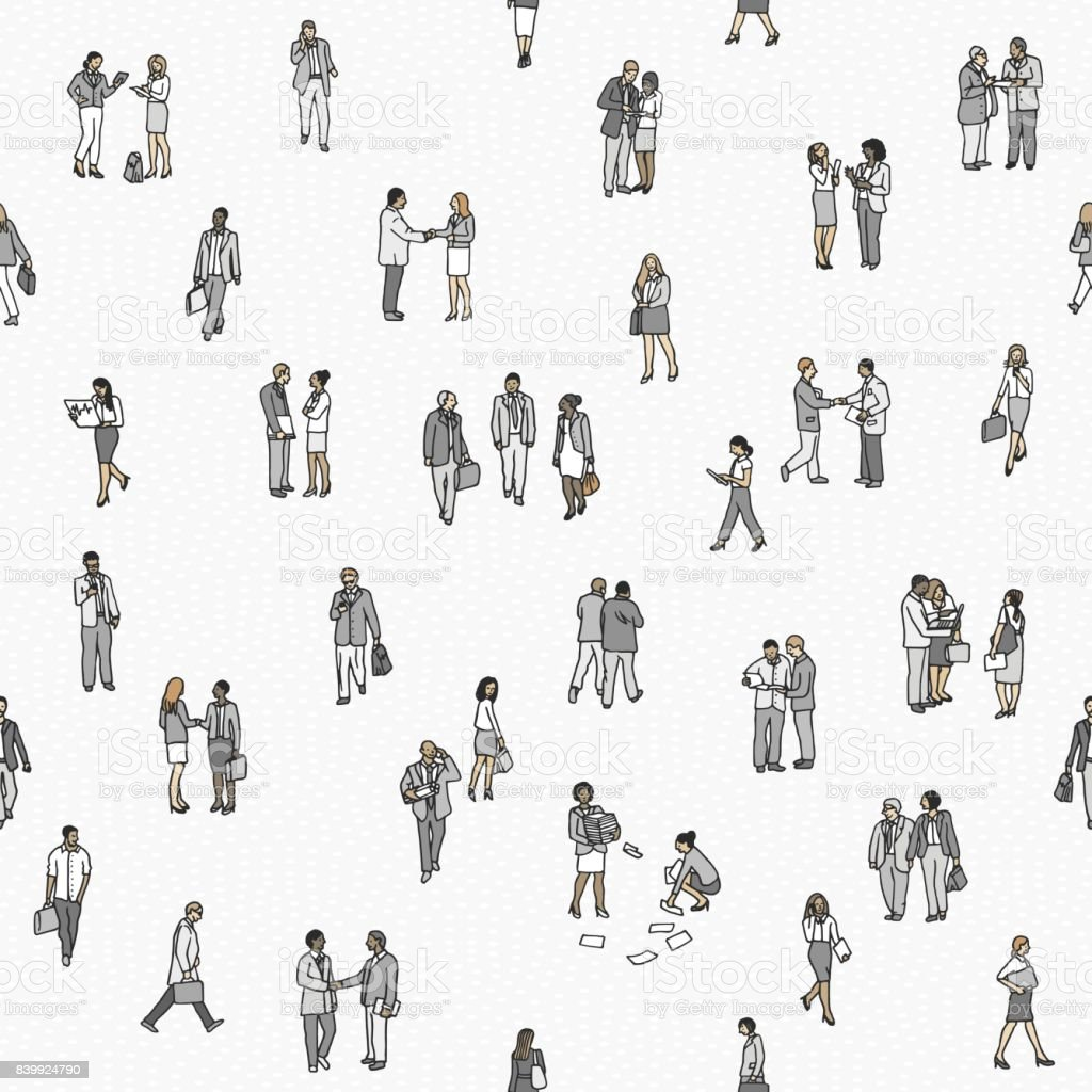 Seamless pattern of tiny business people vector art illustration